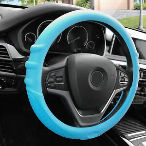 Light Blue Steering Wheel Cover Silicone For Auto Car Suv Universal Fitment