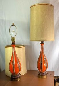 Pair Of Vintage Mid Century Modern Orange Ceramic Drip Lava Glaze Table Lamps