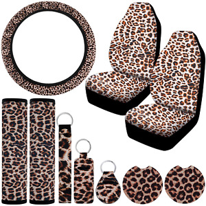 Universal Leopard Print Car Accessories Set Universal Car Front Seat Covers