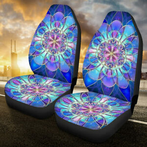 Flower Painted Universal Car Front Seat Covers Protector Cushions For Truck Suv
