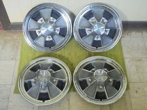 66 67 68 69 70 Ford Mag Hub Caps 15 Set Of 4 Wheel Covers Hubcaps