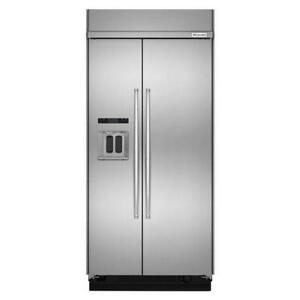 Kitchenaid 42 Stainless 25 5 Cu ft Built in Side side Refrigerator Kbsd602ess