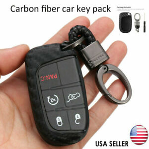 For Jeep Dodge Chrysler Accessories Case Ring Carbon Fiber Key Fob Chain Fit Us
