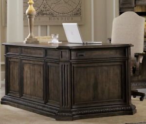 74 Horchow Executive Rhapsody Home Office Desk Antique Brown Wood Leather Top