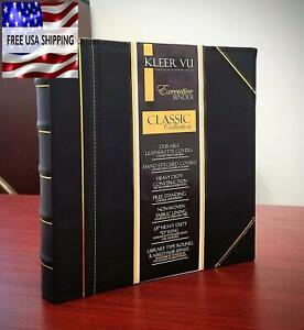 3 Ring Binder 1 1 2 Inch Black And Gold Executive Binder Leather Hand Stitching