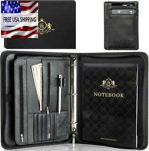 3 Ring Binder Black Zippered Leather 3 With Handle And Business Card Holder
