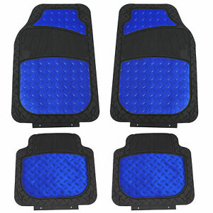 Car Floor Mats For All Weather Rubber Metallic 4pc Set Semi Custom Fit Blue