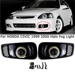 For 1999 2000 Honda Civic Clear Led Halo Drl Projector Fog Lights Bumper Lamp
