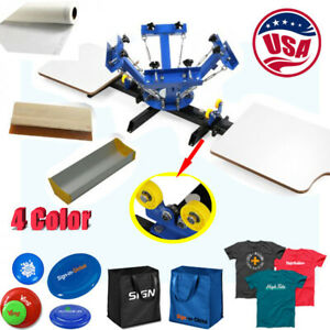 4 Color 2 Station Screen Printing Press T shirts Silk Screen Pressing Machine