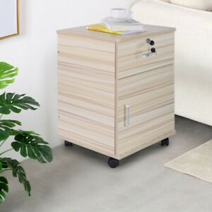 2 drawer Rolling Filing Cabinet File Storage Organizer Home Office White Maple