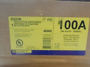 New In Box Square D D223n 100 Amp 2p 240 Volt Fusible Indoor Disconnect Switch