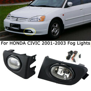For Honda Civic 2001 2002 White Fog Lamp Driving Lights Kit W wiring Switch