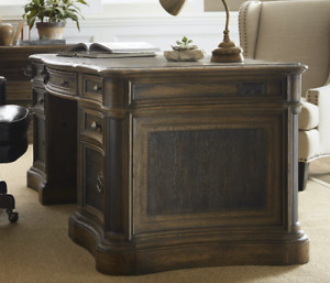 73 Horchow Executive St Hedwig Home Office Desk Antique Brown Wood Leather Top