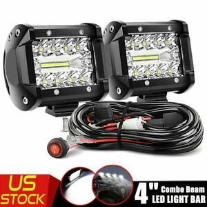 4 Inch Led Work Light Bar Combo Beam Fog Driving Lamp Wire Atv Suv 4wd Offroad