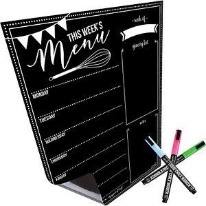 Magnetic Dry Erase Menu Board For Fridge With Bright Neon Chalk Markers 16x12