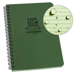 Rite In The Rain All weather Side spiral Notebook 4 5 8 X 7 Green Cover