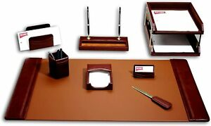 Dacasso Leather Desk Set 10 piece Mocha D3020 New