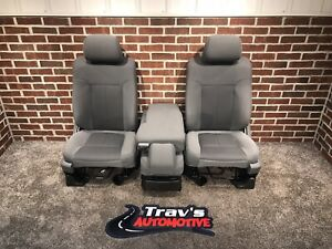 09 14 Ford F 150 Front 40 20 40 Bucket Seats W center Jump Seat Steel Grey Cloth