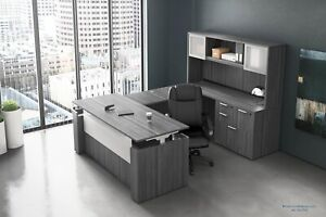 Electric Height Adjustable Stand Up U Shaped Desk And Hutch Set In 8 Colors
