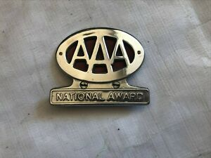 Aaa National Award License Plate Topper Vintage Nice Chrome 1950 S