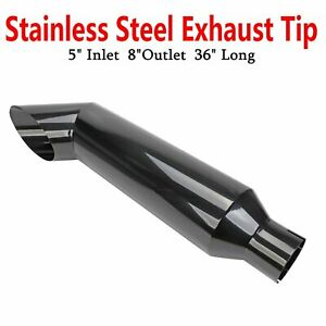 5 Inlet 8 Outlet 36 Long Miter Black Angle Cut Diesel Smoker Exhaust Stack Tip