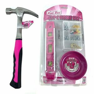 The Original Pink Box 16 ounce Steel Hammer With Smooth Face And 63 Pc Home S