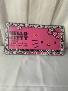 New Chroma 42506 Hello Kitty Pink Bow Face And Rinestone Studed Chrome Tag Frame