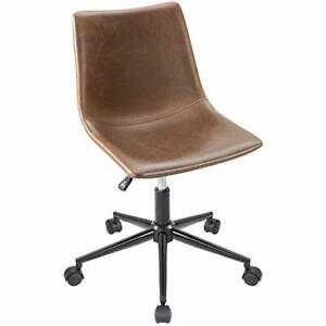 Modern Brown Leather Armless Swivel Office Desk Task Chair With Wheels No Arms