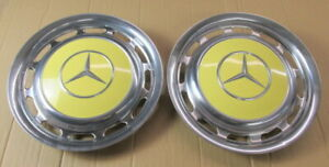Mercedes Benz Hubcaps Wheel Covers 15 Quantity 2 Vintage White Yellow Used