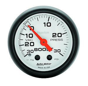 Auto Meter 5703 Phantom Mechanical 30 Psi Boost Press Vacuum Gauge 2 1 16