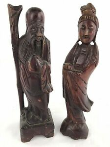 Vintage Detailed Wood Carved Asian Japanese Chinese 11 Statues Figurines