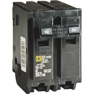 Square D Homeline 60a Double pole Standard Trip Circuit Breaker Hom260c 1