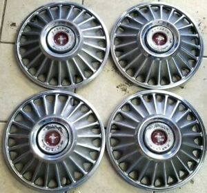 Vintage Set 4 Ford Mustang Galaxie Fairlane 14 Hubcaps Wheel Covers