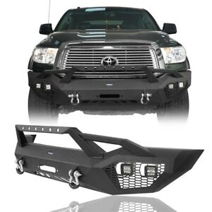 Off Road Steel Front Bumper Bar W Winch Plate Hoop Fit 2007 2013 Toyota Tundra