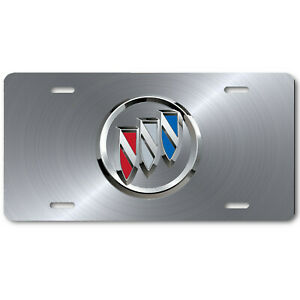 Buick Inspired Art Emblem Aluminum License Plate Tag Silver Steel Look