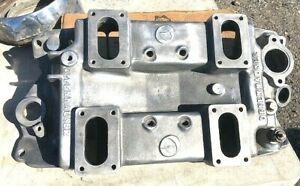 Vintage Offenhauser 4x2brl Small Block Chevy Aluminum Intake Very Nice