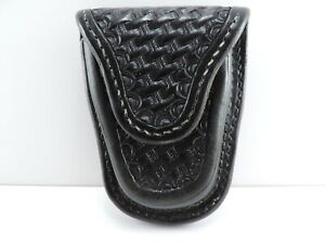 Unmarked Black Leather Basketweave Handcuff Holster Snap Closure