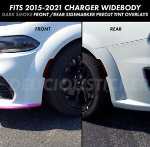 Wide Body Smoke Side Marker Reflector Overlay Precut Tint Vinyl Fits 15 Charger