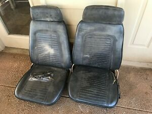 1969 Original Gm Camaro Firebird Trans Am Bucket Seats Tracks Headrests Pair