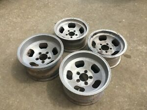 1970 s Aluminum Slot Mags Rims Wheels 15 Rears 14 Fronts Set Of Four