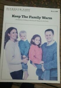 BONANZA SALE RARE KNITTING PATTERN BOOK: KEEP THE FAMILY WARM BY PLYMOUTH $1.00