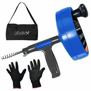 Drainx Pro 35 ft Steel Drum Auger Plumbing Snake Drain Cleaning Cable With