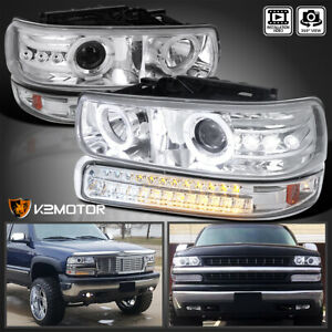 For 1999 2002 Chevy Silverado 00 06 Tahoe Projector Headlights led Bumper Lamps