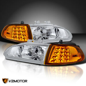 For 92 95 Honda Civic 2dr 3dr Eg Eh Ej Crystal Headlights led Corner Lights 4pc