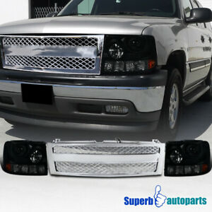 For 1999 2002 Chevy Silverado 1500hd Smoke Projector Headlights Mesh Grille