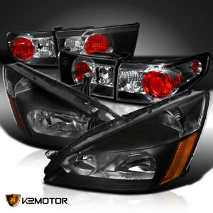 Fits 2003 2005 Honda Accord 4dr Black Headlights rear Tail Lights Brake Lamps
