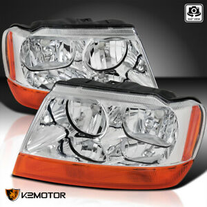 For 1999 2004 Jeep Grand Cherokee Clear Headlights Amber Turn Signal Lamps 99 04