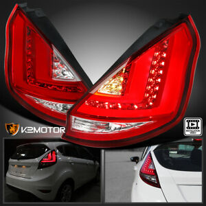 Fits 2011 2013 Ford Fiesta Hatchback Red Led Bar Tail Lights Lamps Left Right