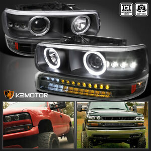 Fits 1999 2002 Chevy Silverado 00 06 Tahoe Black Projector Headlights led Bumper