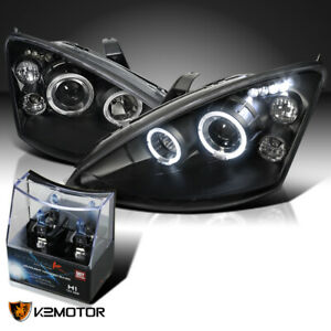 For 2000 2004 Ford Focus Black Led Halo Projector Headlights H1 Halogen Bulbs